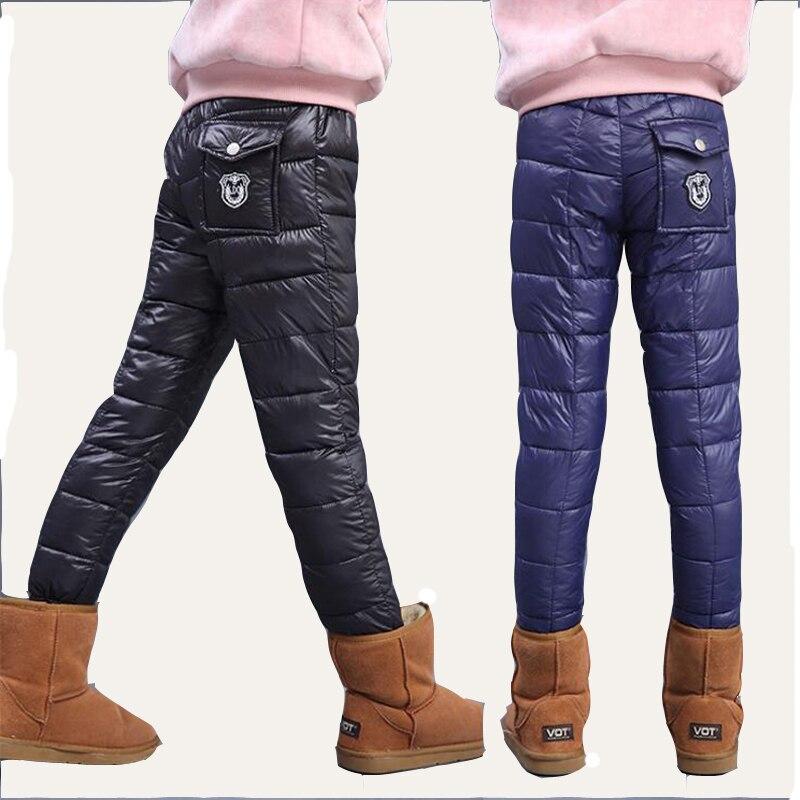 Tjej vinterbyxor ny 2016 pojke och tjej ren färg varma byxor barn tjocka byxor skära byxor stora barn bär byxor 6 -13 T