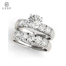 LESF модные ювелирные изделия Настоящее натуральное твердое 925 серебряных колец набор люкс 2 шт круглый Sona Свадебный с фианитами кольца для женщин