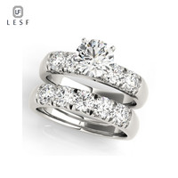 LESF Fashion Jewelry Real Natural Solid 925 Silver Rings Set Luxury 2pcs Round Sona CZ Zircon Wedding Rings for Women