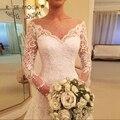 Sheer Bateau Long Neck Mangas Cabido A Linha de Vestido De Noiva de Renda Applique Tule Pontilhada vestido de Noiva Custom Made