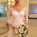 Sheer Bateau Neck Long Sleeves Fitted A Line Wedding Dress Lace Applique Dotted Tulle Bridal Gown Custom Made