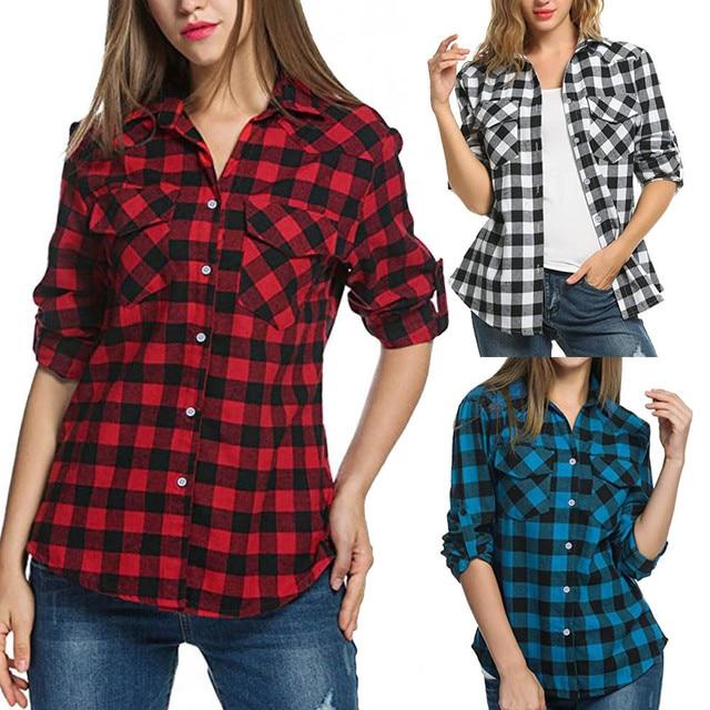 20# Women Blouse Shirt Tartan Plaid Flannel Shirts Roll Up Sleeve Casual Tops Button Down Blouse Blusas Femininas De Ver O 2019 6