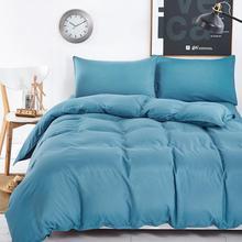 Bettwäsche-sets Einfache farbe See Blau gestreiften bettlaken duver bettbezug kissenbezug weich und bequem König Königin Voller Doppel