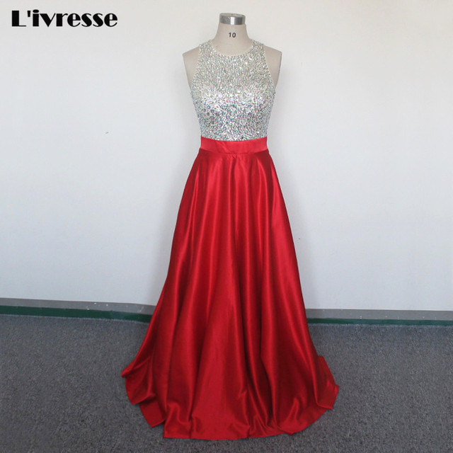 Neue Backless Scoop Red Satin Langes Kleid Prom 2017 Kristall Perlen ...