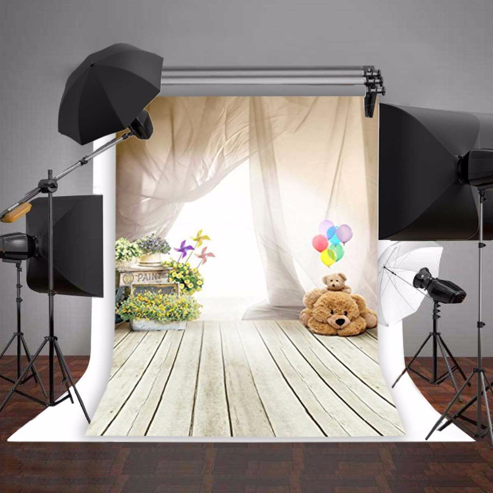 3x5ft flower wood wall vinyl background photography photo studio props - Aliexpress Com Buy Photography Backdrop Photo Props Fantasy Ballon Bear Children Wooden Floor Vinyl 5x7ft Or 3x5ft Photo Studio Background For Baby From