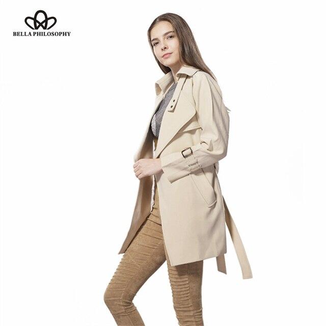 Bella philosophy 2017 primavera nueva correa larga da vuelta-abajo chaqueta de abrigo de color caqui gris rojo amarillo azul negro