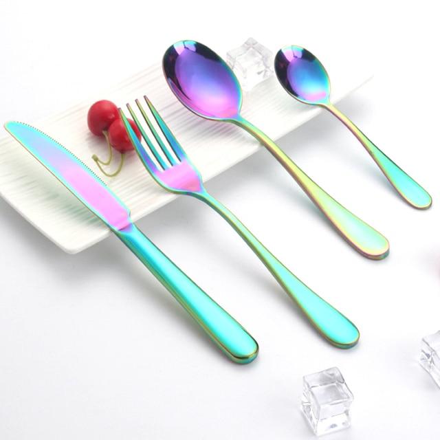 341a9c7d991 Rainbow Luxuoso Conjunto de Talheres de Aço inoxidável Bife Faca Garfo  Colher de Sopa Colorido Jogo