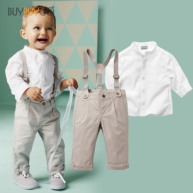 Fashion Kids Clothes White Shirt + Suspender Trousers Infant Long Sleeve Baby Boy Clothes Gentleman Suit Bebe Clothing Set