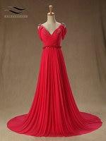 Arabic Dubai Middle East V-Neck Chiffon Evening Dress Sleeveless Vestido De Festa Longo Robe De Soiree Long Evening Dress SL-E58