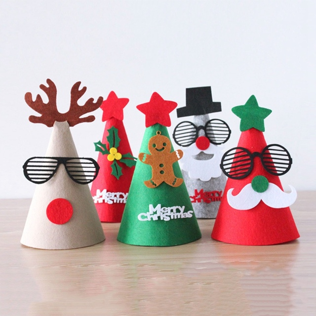 Christmas Hats For Kids.Us 0 84 5 Off Diy Merry Christmas Hat Felt Santa Cap Santa Claus Snowman Christmas Shape For Kids Adults Ornaments Caps Party Tree Decor In