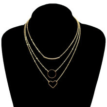 New Simple Love Heart Circle Clavicle Necklace Women Multilayer Handmade Chain Choker Necklace XL353 4 pcs set new round circle sequins multilayer necklace gold color dainty crystal clavicle chain choker necklace women