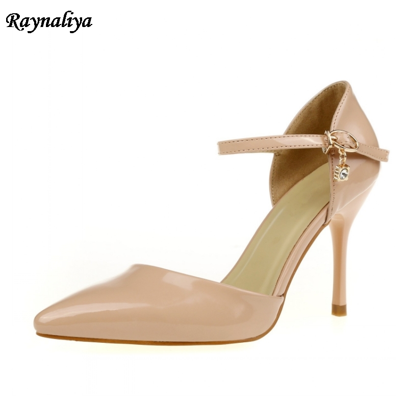 New Sweet Sandals Shoes 2018 Women Summer Pump Pointed Toe Fashion Brand High Heel Patent Leather Sandal Plus Size 9CM XZL-A0012 sweet plus size scoop neck flounce sleeves chiffon blouse for women