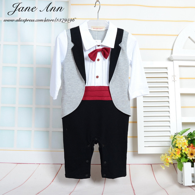 21a9996f8 Newborn boy clothes infant toddler tuxedo jumpsuit gentlemen red bow ...