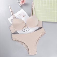 New Sexy High Quality Women Solid Color Bra set Silk Lace Flower Push up Big size Underwear Bra and Hollow out Panties(China)