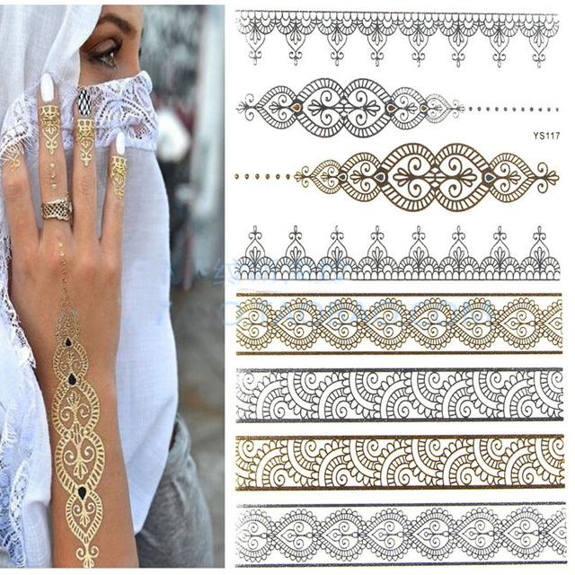Gold Henna Sexy Lace Heart Wedding