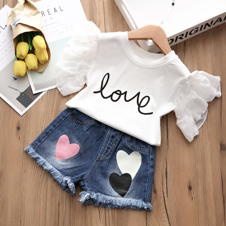 Alice summer hot style 2018 children jeans + t-shirts, children's wear two-piece han edition of the new children's shorts 7