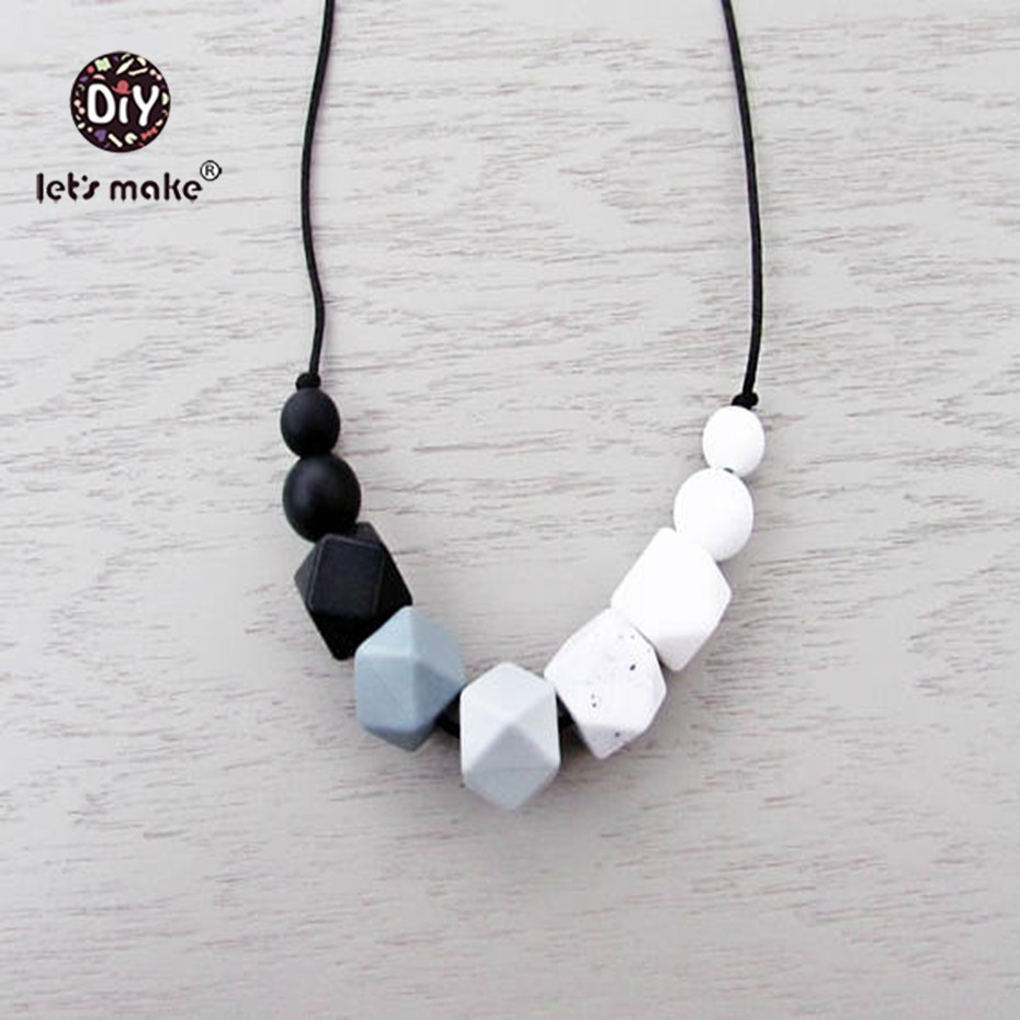 Lets make Baby Silicone Teether Food Grade Silicone Ecofriendly Teething Baby Bites Toys Baby Shower Gift Nursing Necklaces