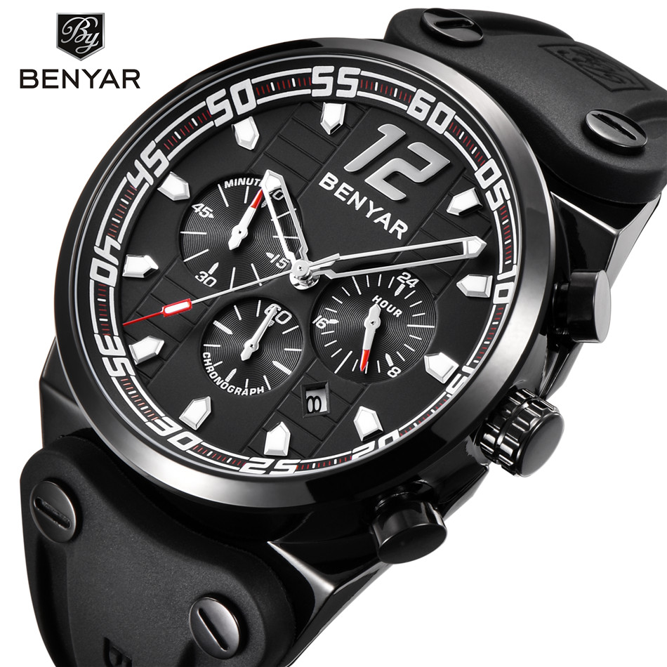 Sport Chronograph Mens Watches Men Waterproof Male Clock Relogio Masculino Benyar Top Brand Luxury Silicone Strap Quartz Watch benyar big dial silicone sport men watch top brand luxury quartz chronograph waterproof wrist watch male clock relogio masculino