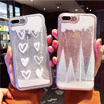 LVTLV Girls Snow Liquid Glitter For iphone X 7 8 6 6s Plus Cases For iPhone X Silicone TPU Dynamic liquid Case Christmas Gift iPhone