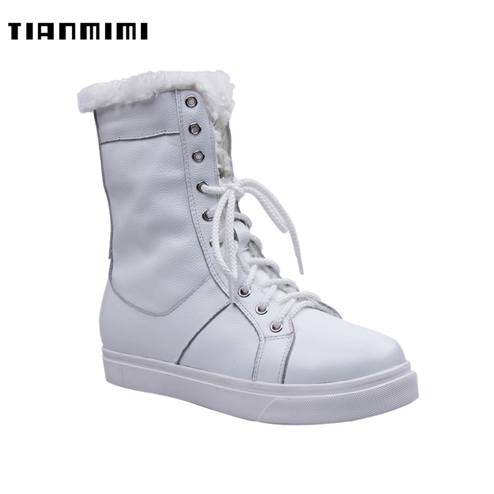 TIANMIMI Fashion Lace Up Female Shoes for Women Snow Boots Warm Fur Off-white Long Boots Winter Flat Footwear TMMXDX-6 trendy see through off the shoulder long sleeve lace blouse for women