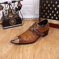 British Style Snakeskin Leather Steel Iron Pointed Toe Men's Natural Cowhide Wedding Height Increasing Hasp Shoes 014 GZSL