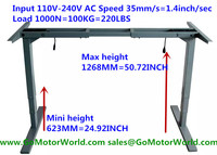 Electric height adjustable desk mini height 623mm max height 1268mm 35mm/s speed 110V 240V 1000N 100KG 220LBS lift