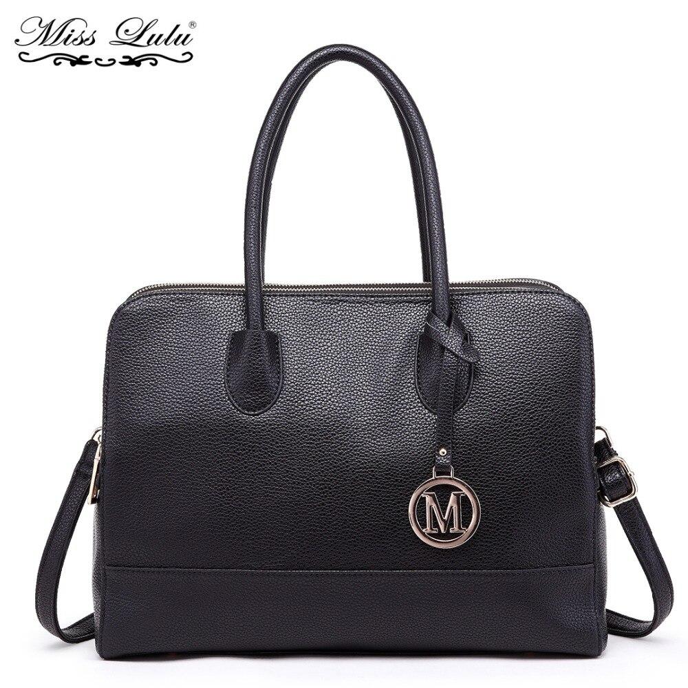 Miss Lulu Brand Women Laptop Handbags Female Leather Shoulde