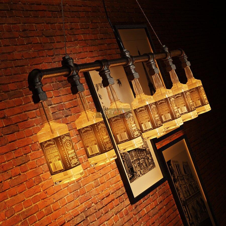 Jack daniels bottle chandelier lighting industrial water pipe jack daniels bottle chandelier lighting industrial water pipe vintage bar decorative lights fixture beer bottle chandelier in chandeliers from lights arubaitofo Choice Image