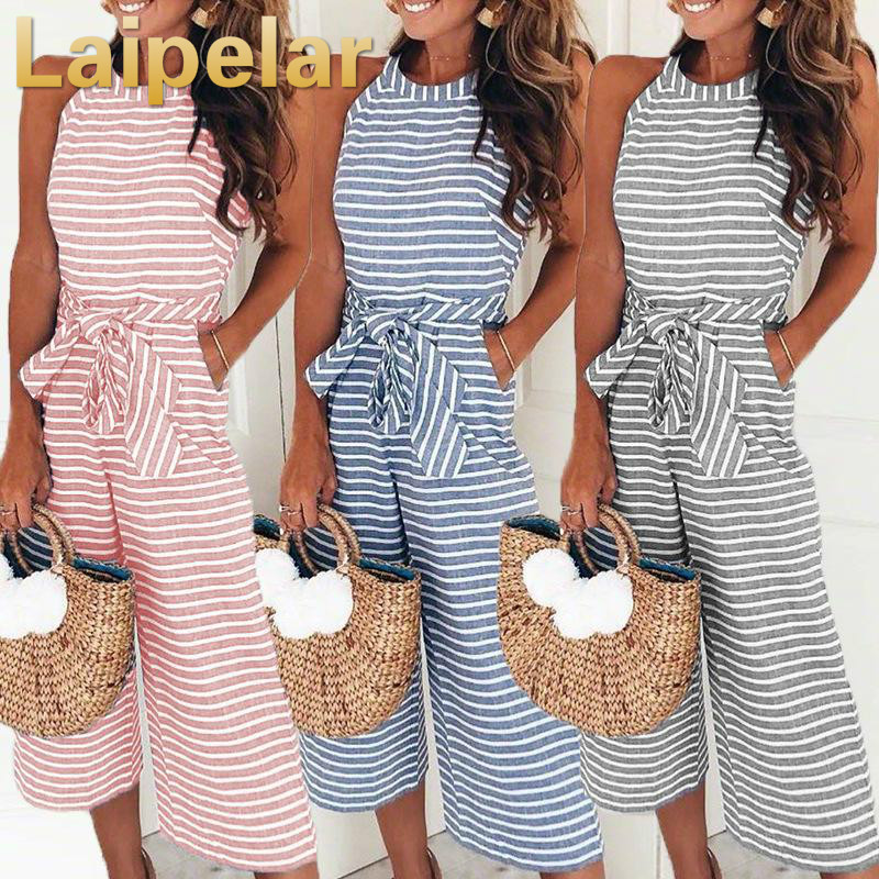 Elegant Sexy Jumpsuits Women Sleeveless Striped Jumpsuit Loose Trousers Wide Leg Pants Rompers Holiday Belted Leotard Overalls in Jumpsuits from Women 39 s Clothing