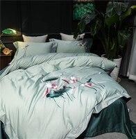 Зеленый с вышивкой в виде лотоса 60 s из египетского хлопка удобные Постельное белье queen King Размеры пододеяльник постельное белье лист наволо