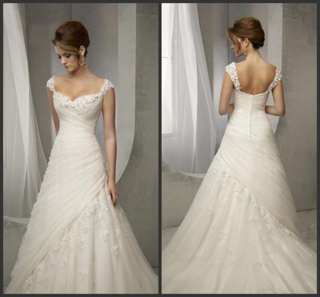 559172bab2ce6 Latest Design Vintage Wedding Dress Lace Cap Sleeve Beaded A Line Bridal  Dresses Wedding Gowns Women Vestidos de Noivas 2016