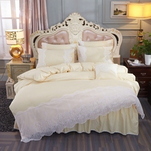 Korean Style Beige Pink Gray 100% Cotton Princess Girls Bedding Set White Lace Duvet Cover Bed Sheet Skirt Pillowcases 4pcs