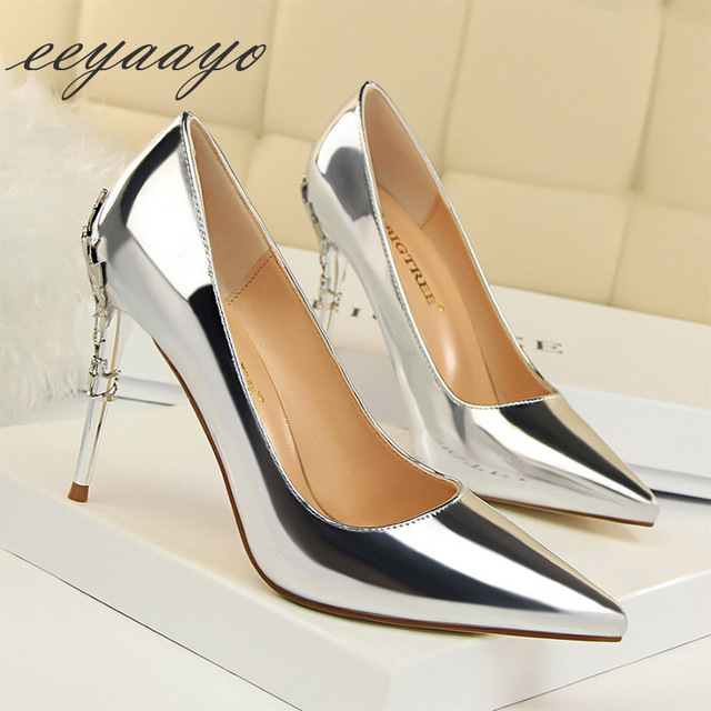 2019 New Spring/Autumn Women Pumps High Thin Heels Pointed Toe Metal Decoration Sexy Bridal Wedding Women Shoes Silver High Heel