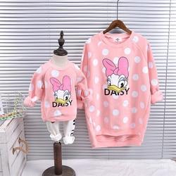 Pai-filho roupas com veludo 2018 novos desenhos animados de pelúcia pato pontos família olhar mãe e filha t-shirts combinando roupas