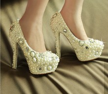 White crystal and pearl wedding shoes  Bridal Dress Shoes Stiletto Heel Round Toe Lady Formal Shoes Popular Shoes women