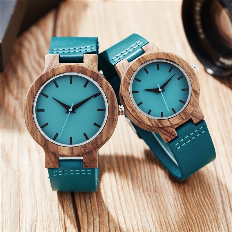 Relógio de Madeira dos Homens para Mulheres Pulseira de Couro Relógio de Quartzo Relógio de Madeira Presentes de Natal Azul Ocasional Minimalista Reloj Mujer