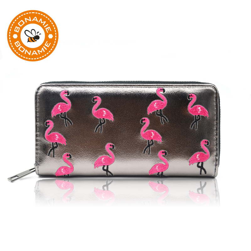 BONAMIE Purse Women Black Long Flamingo Wallet Girl Solid Embroidery Wallet Female Purse Coin Credit Card
