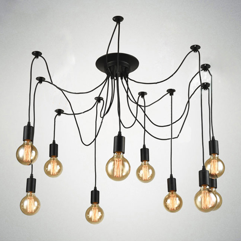 Vintage Nordic Spider Pendant Lamp Multiple Adjustable Retro Pendant Lights Loft Classic Decorative Fixture Lighting Led Home vintage multiple adjustable wire diy ceiling spider pendant lighting 12 14 heads with e27 lamp holder for home bar hotel
