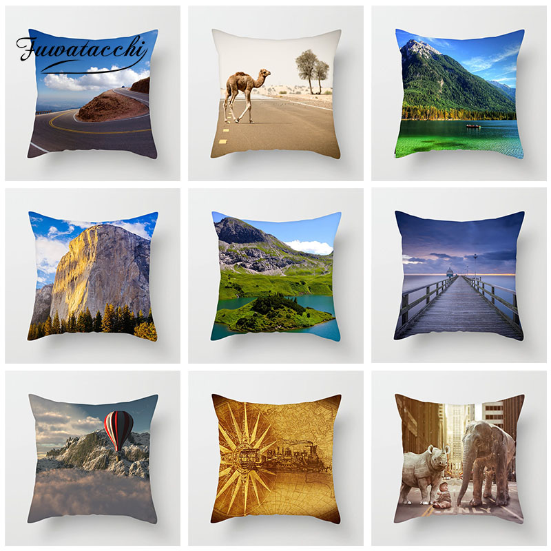 Fuwatacchi Natural Scenic Cushion Cover High Mountain Camel Pillow Cover For Home Sofa Chair Car Decorative Pillowcase 45cm 45cm in Cushion Cover from Home Garden