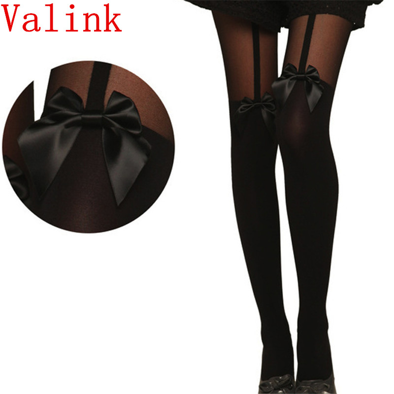 2017 Hot Sale Vintage Tights Bow Pantyhose Tattoo Mock Bow Suspender Sheer Stockings For female calcetines Bas Fast Shipping