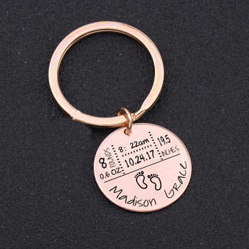 Baby Birth State Keychain Gift For First Fathers day New Mommy Gift Newborn Baby Key Pendant Women Men Key Accessories 3 Colors 4
