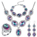 Luxury Bridal Jewelry Sets Rainbow Waterdrop Mystic Earrings Necklace Ring Bracelets African Beads Jewelry Set For Women
