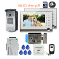 "Free Shipping BRAND 7"" Color Video Intercom Door Phone Recorder + 2 Screens + RFID Access Door Intercom Camera + 8G SD + E-lock"