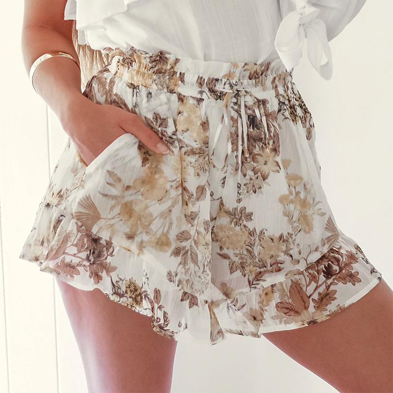 Conmoto Chiffon Floral Print Women   Shorts   Summer 2019 Ruffle   Shorts   Casual Boho Transparent Sexy Famale   Shorts