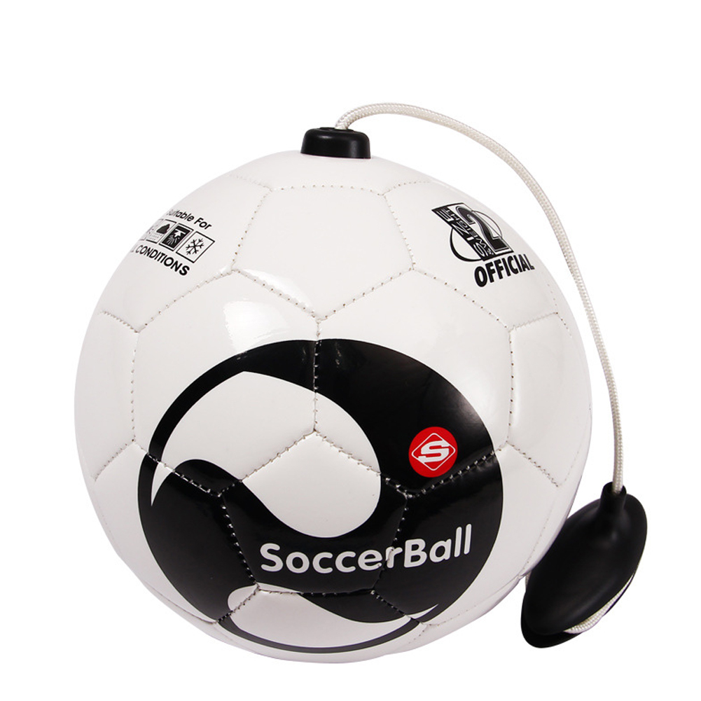 New Soccer Ball Size 2 With Rope Football Kick  Beginner Practice Belt Training Equipment Standard Official Profession