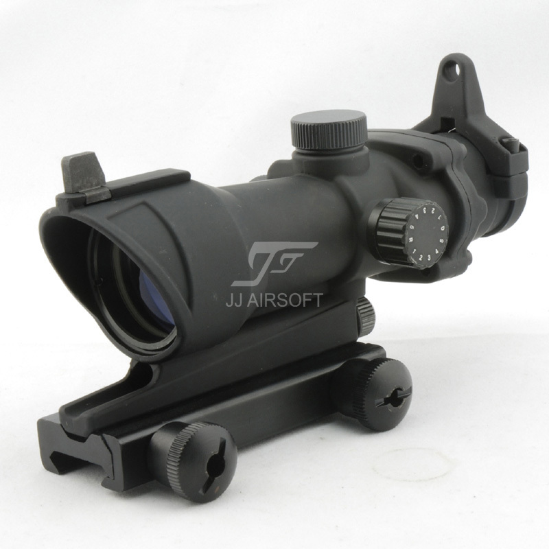 JJ Airsoft ACOG Style 4x32 Scope Red/Green Reticle (Black) Full Line Red Illumination FREE SHIPPING jj airsoft acog style 4x32 scope with docter mini red dot light sensor black free shipping