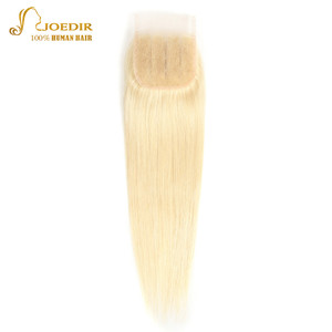 Image 2 - Joedir Hair Brazilian Straight Human Hair Lace Closure With Baby Hair 613 Blonde Color Lace Closure Three Part Remy Hair Weaving