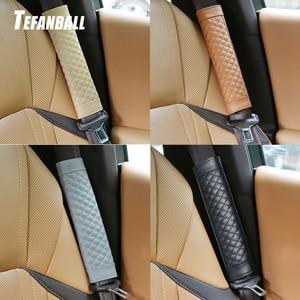 Image 1 - 2Pc/Set Leather seat safety belt Cover Universal Soft Car Seat Belt Protector Shoulder Strap Pads Protect Your Neck And Shoulder