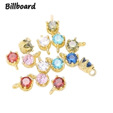 2019 New Fashion Charms for High Grade Jewelry Making Trendy Metal Copper Inlaid with Zircon Crystal 10pcs/bag