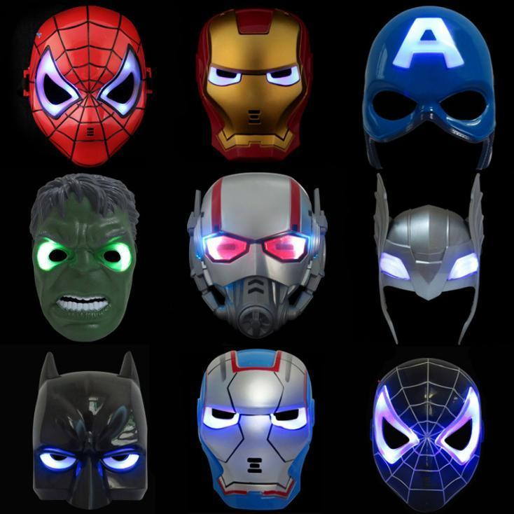 LED Glowing Super Hero Mask The Avengers Spiderman Captain America Iron Man Hulk Batman Party Cosplay Halloween Mask Toy boys iron man cosplay halloween costume ironman super hero carnival kids boy cool muscle the avengers costumes birthday gift